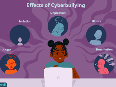 illustration of young girl in front of laptop experiencing distress from cyberbullying