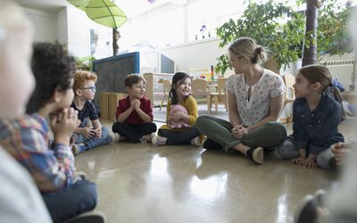 Preschool teacher and students sitting in circle on floor in classroom