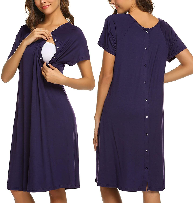 Ekouaer Nursing Maternity Nightgown