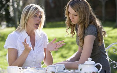 A mother and daughter having tea