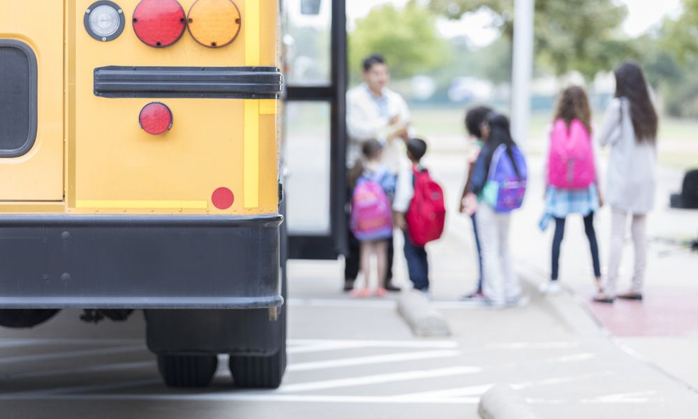 kids and school bus