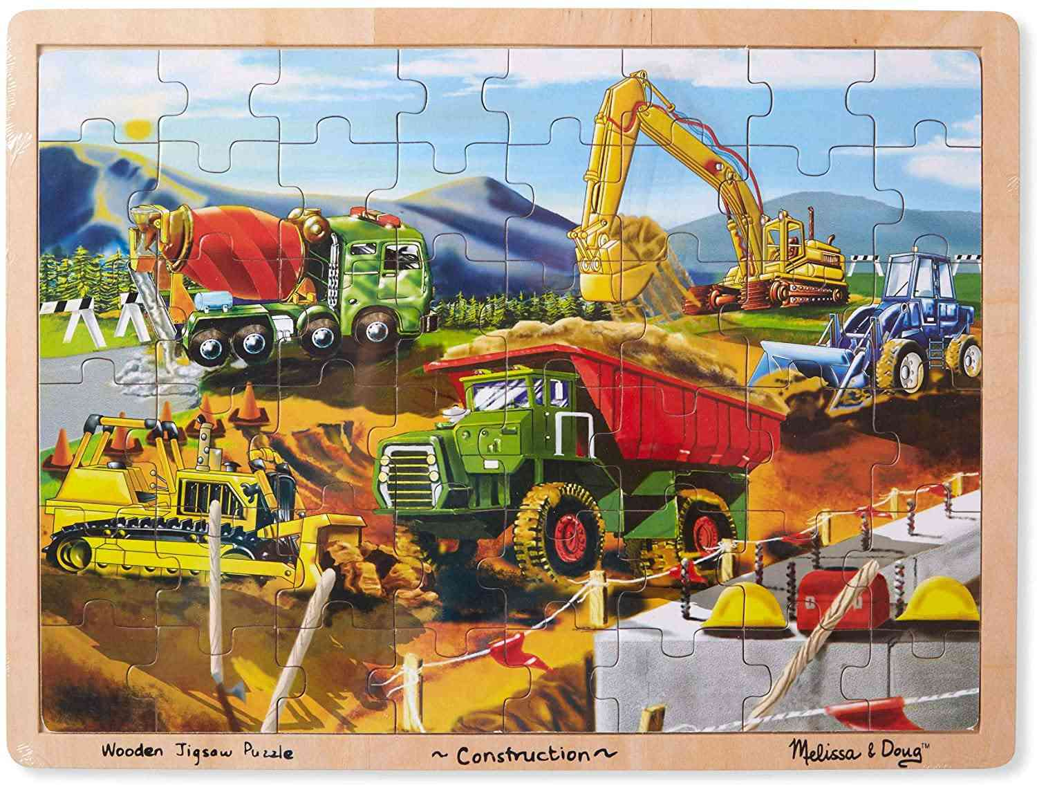 Melissa & Doug Construction Vehicles Wooden Jigsaw Puzzle With Storage Tray