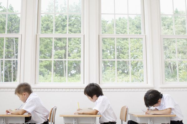 Boys studying in classroom, side view