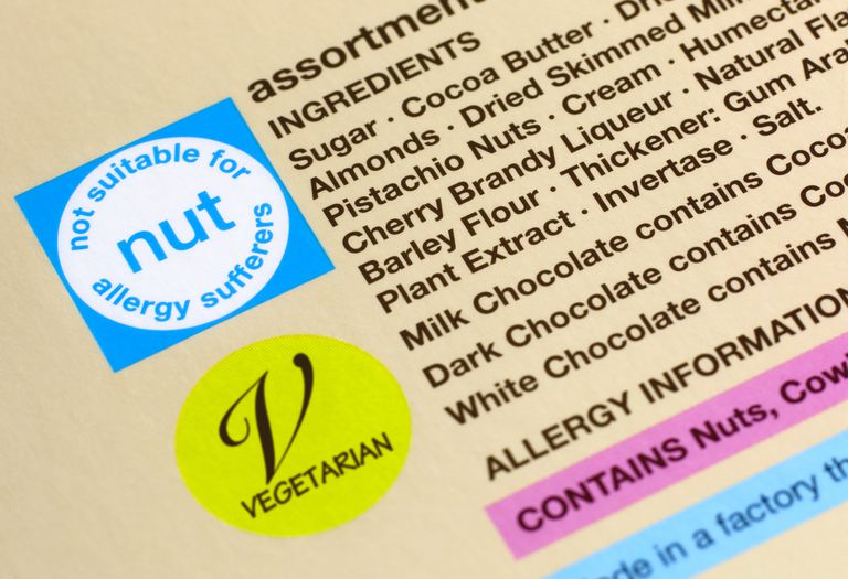Nut allergy packaging warning