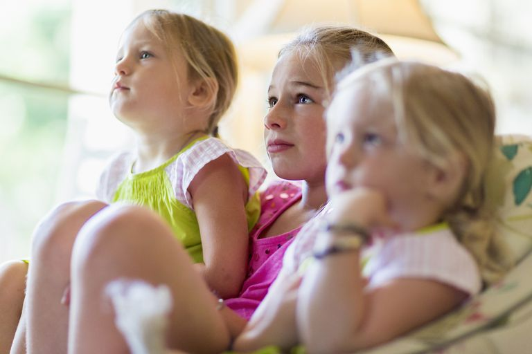kids' TV content rating - girls watching TV