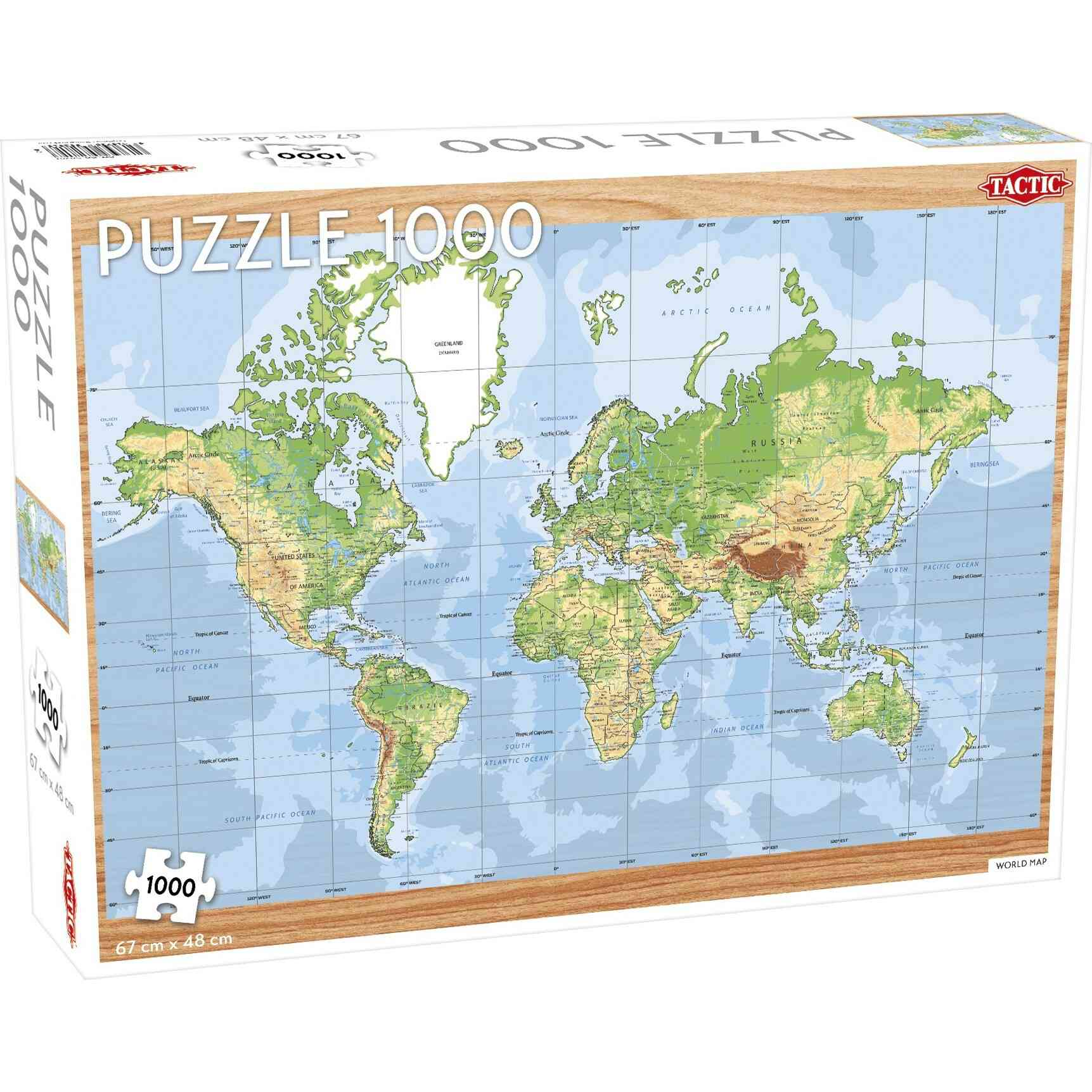 Tactic World Map 1000 Piece Puzzle