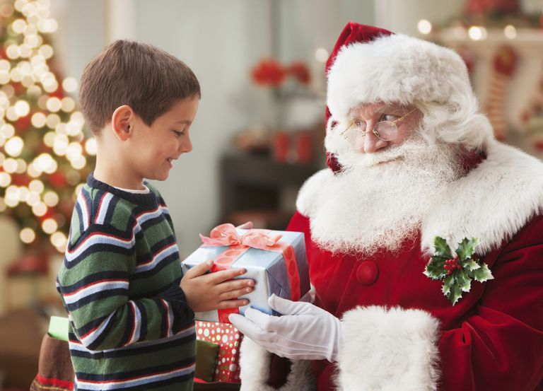 Boy visiting with Santa