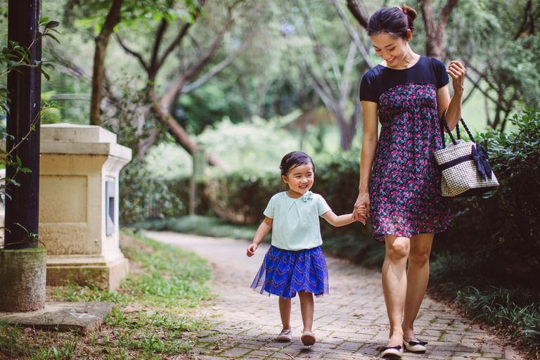 Mom & child strolling in park joyfully