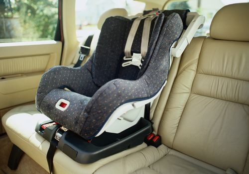child car seat in back of car