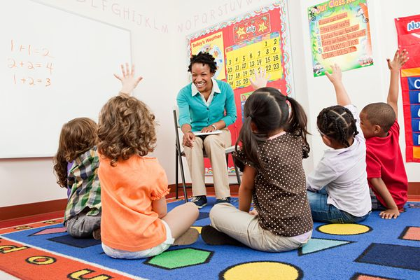 Kids sit on the floor in front of a teacher raising their hands