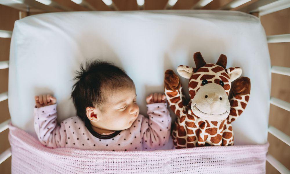 Newborn baby girl sleeping in crib with a plush giraffe