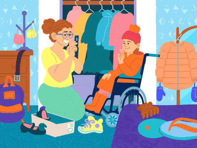 Children in a wheelchair shopping for back-to-school gear with her mom