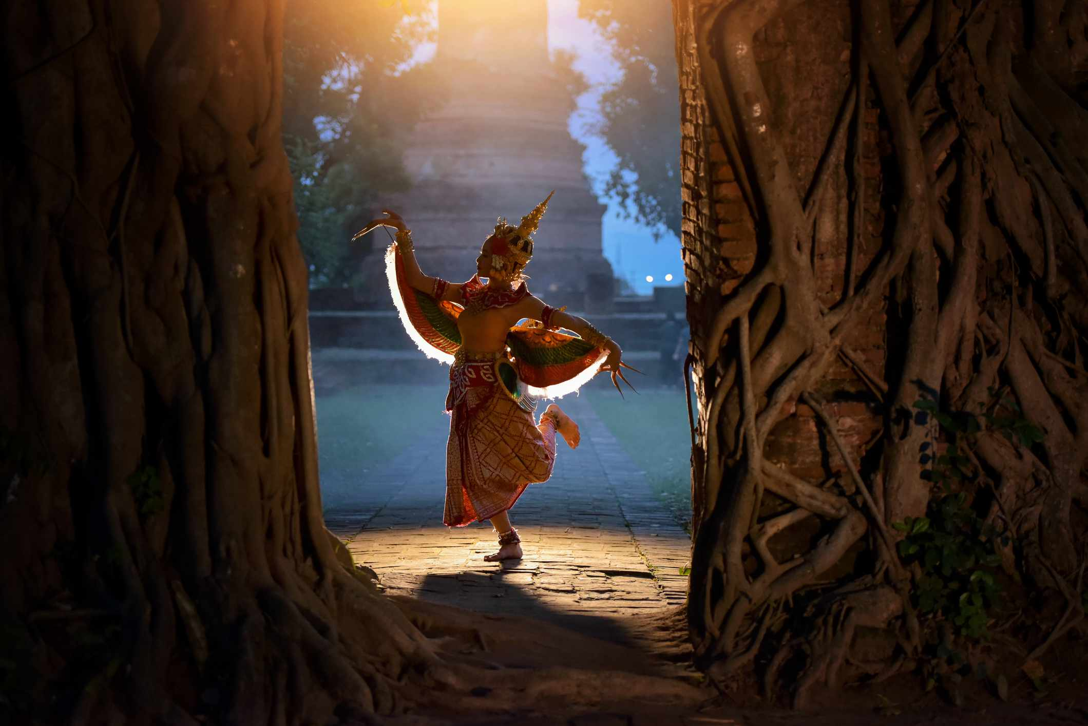 young girl Thai Dancing art, pantomime performances action, Thailand