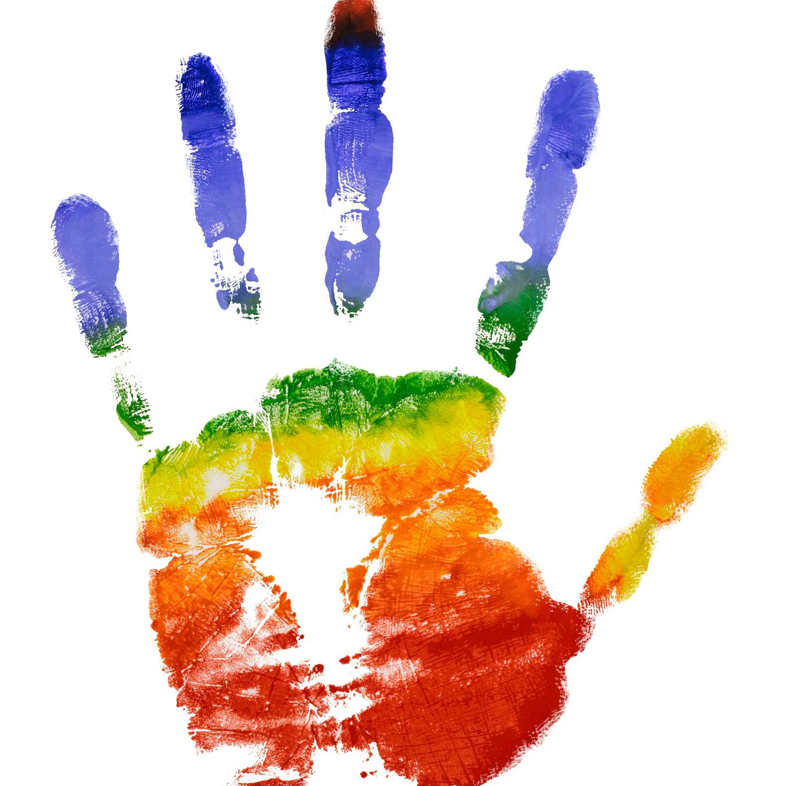 Rainbow colorful left hand print isolate on white background
