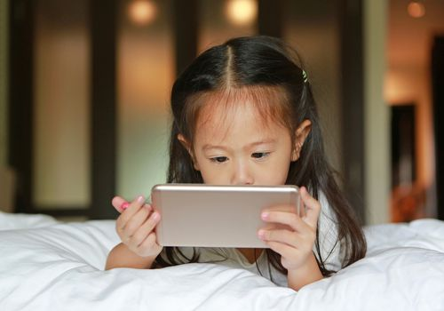 young girl watching online video