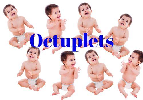octuplet babies wearing diapers