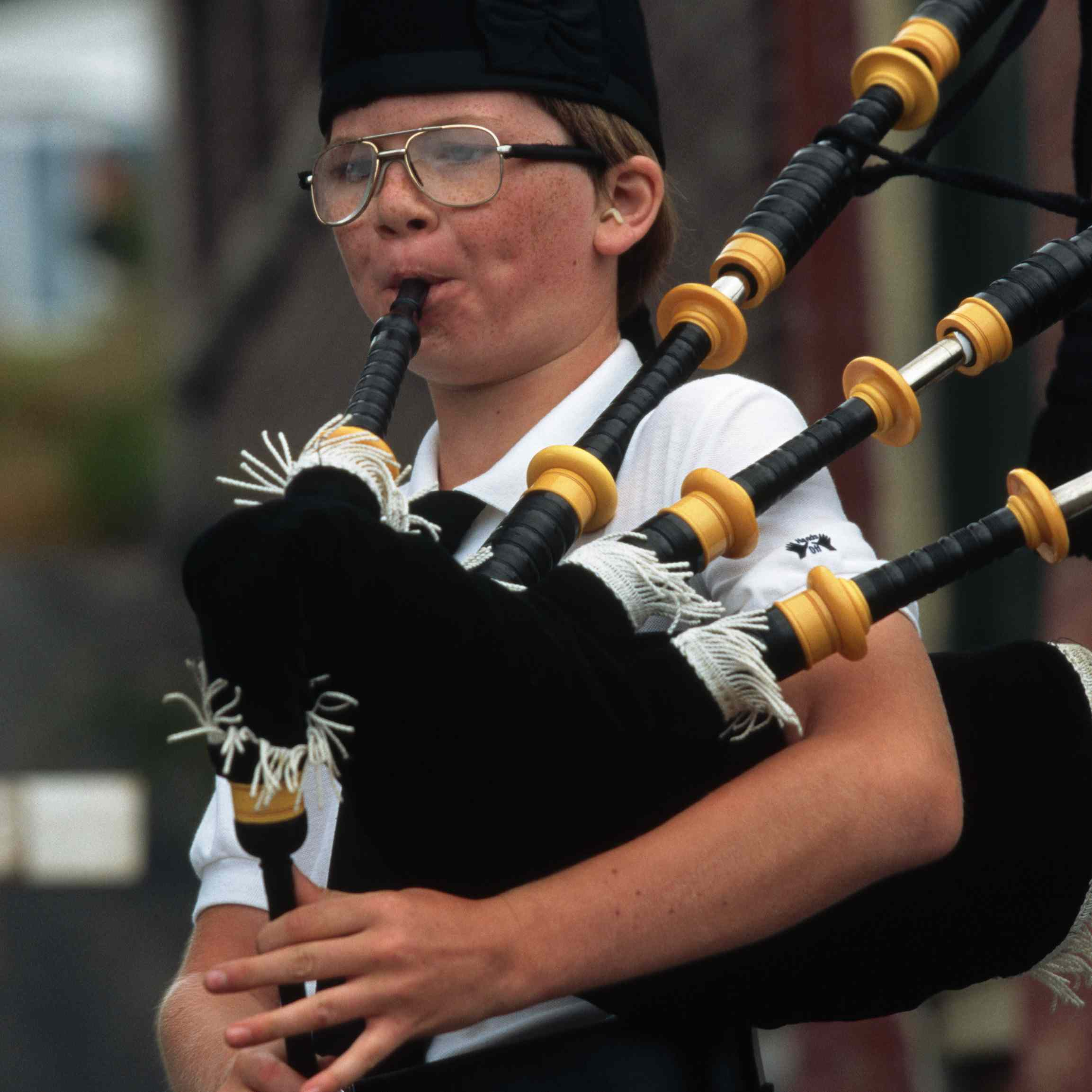 Girl Playing the Bagpipes