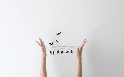 String hand game with birds perched on the string