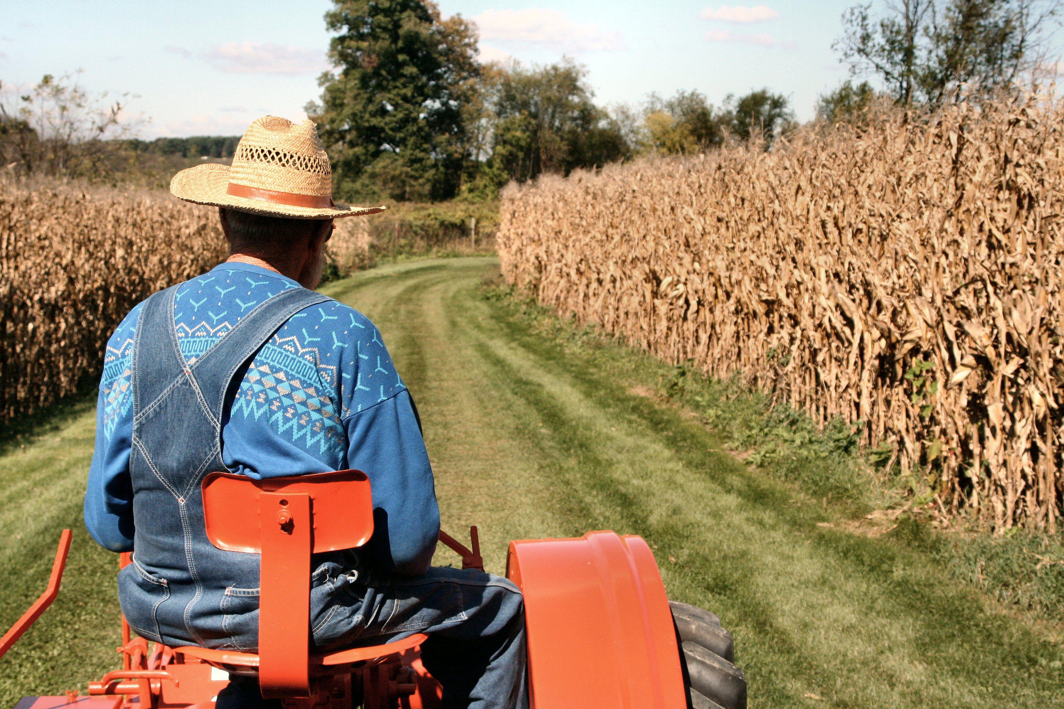 Farmer sitting on a tracker in a field