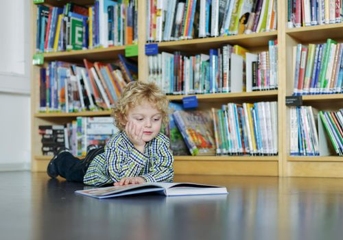 Little boy reading a book in a library