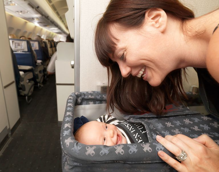 Mother with baby on plane