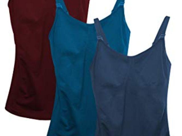 iloveSIA 2pack Womens Seamless Maternity Breastfeeding Nursing Dress with Build-in Bra