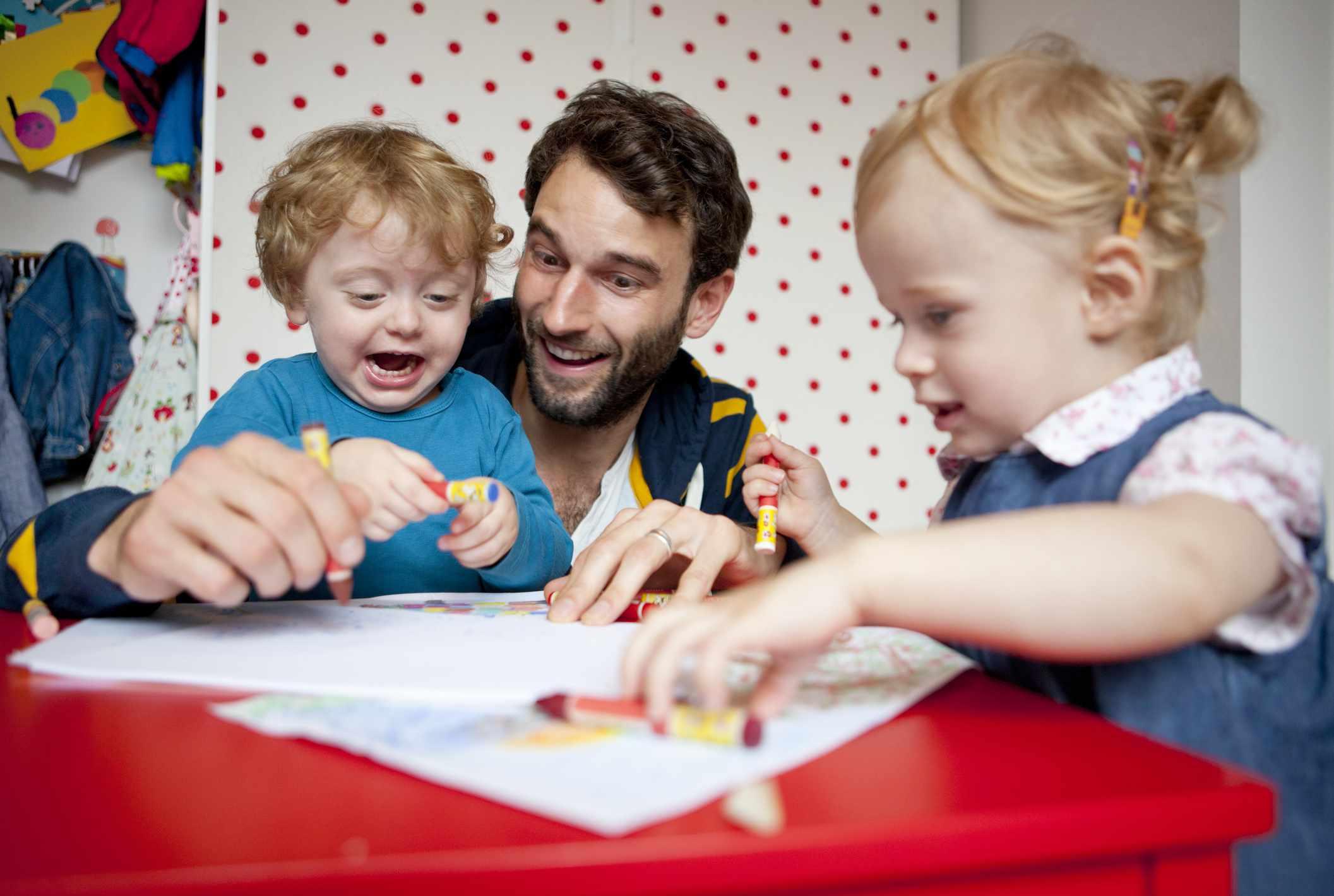 Kids using crayons