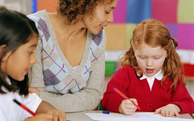 Therapist working with children