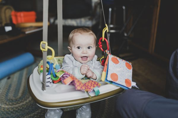 Baby in a baby swing