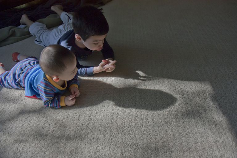 Shadow puppets on floor