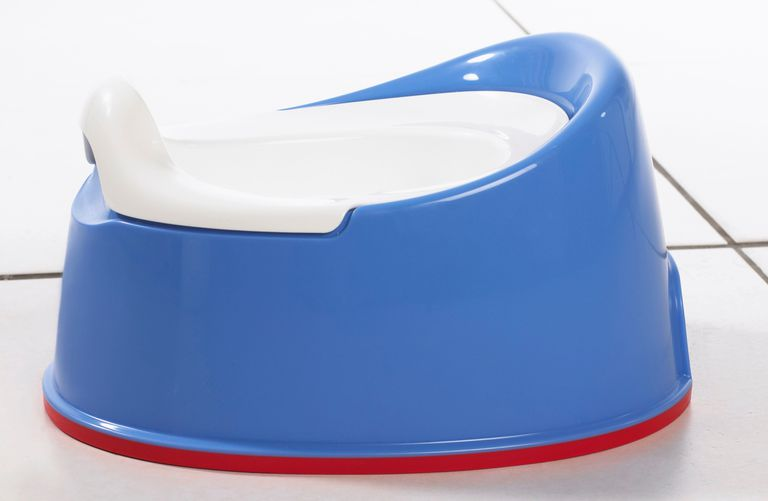 Blue and white potty chair