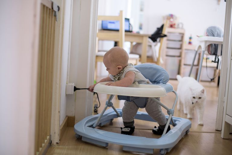 Baby pulling electricity cord