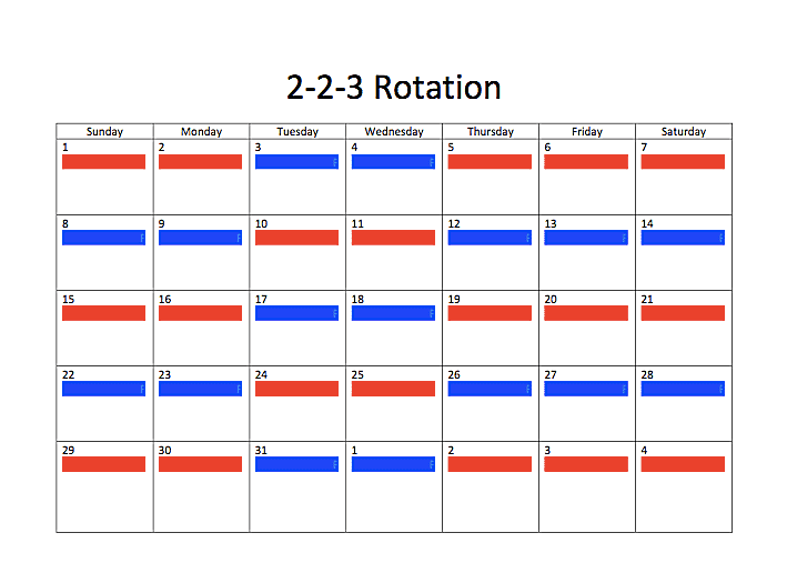 2-2-3 rotation joint custody schedule