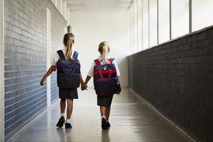 Schoolgirls walking hand in hand at school isle