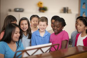 A picture of kids singing at Vacation Bible School