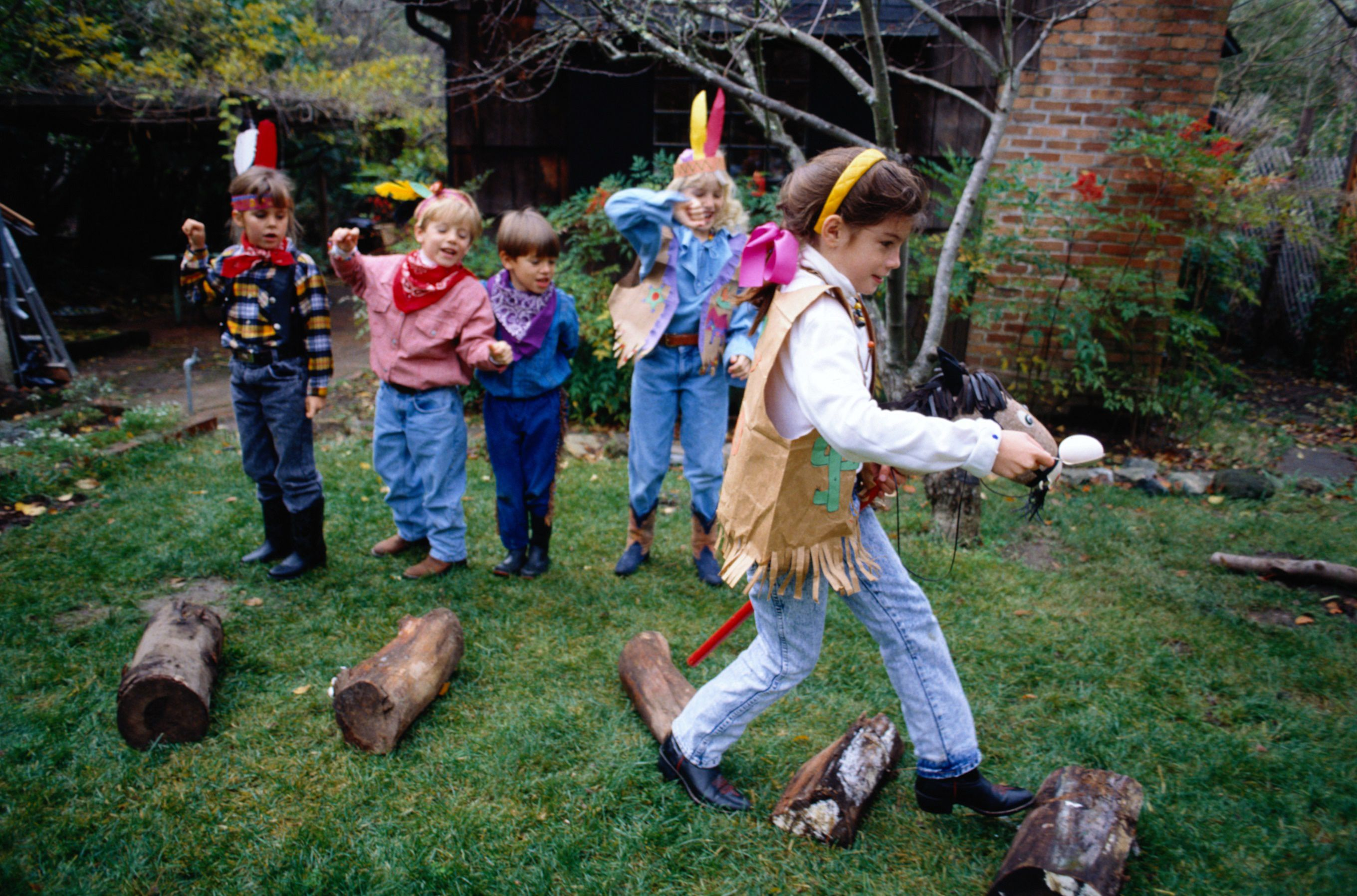 outdoor party games for kids - dress up relay race