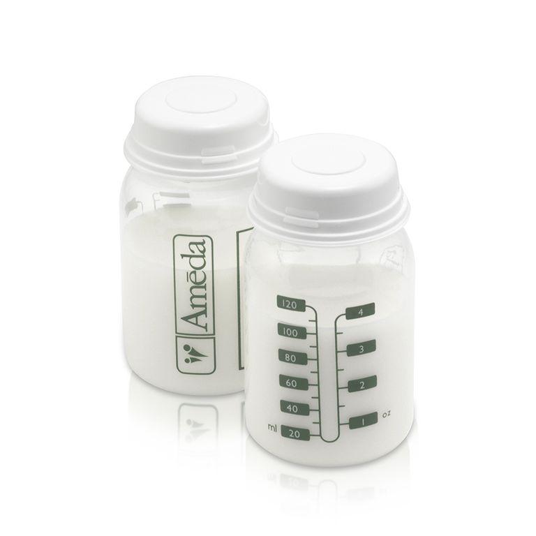 2 Bottles with Milk Ameda Plastic Breast Milk Storage Bottles