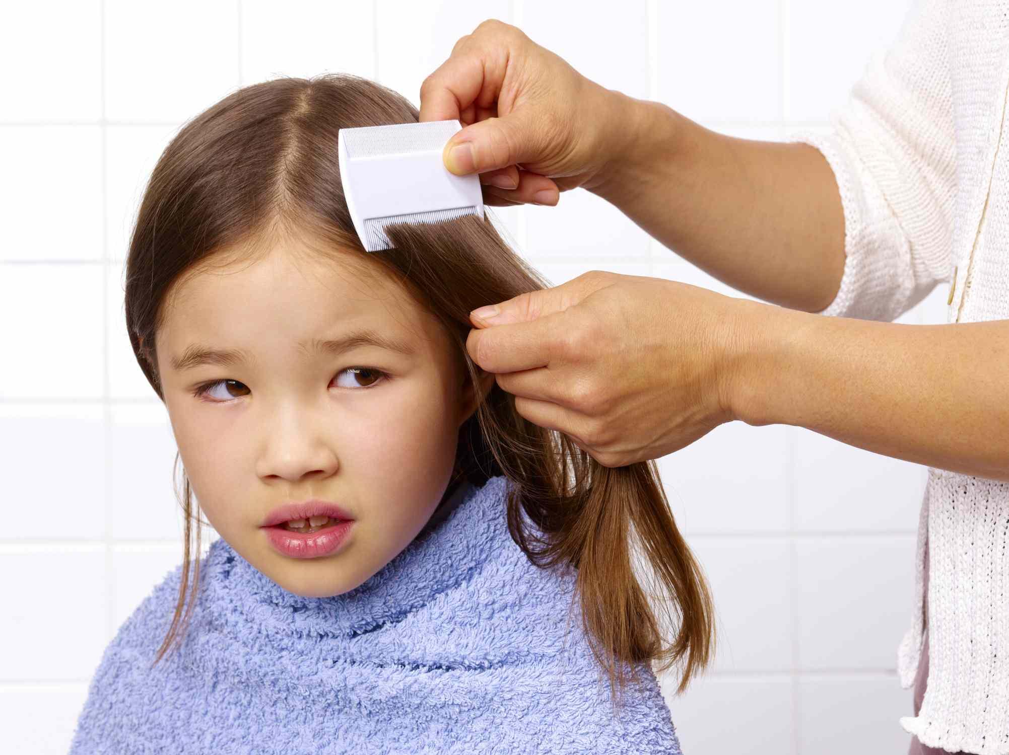 Kind Haare immer mit Läusekamm gekämmt