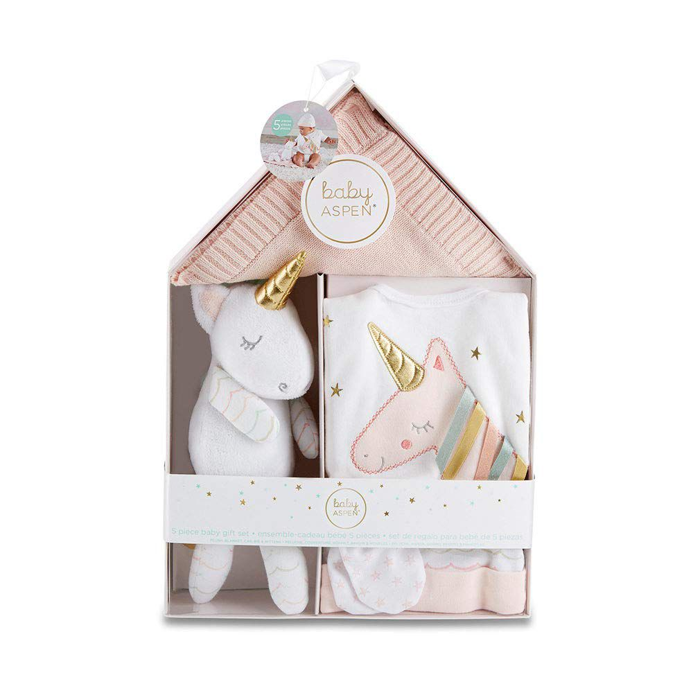 Baby Aspen Simply Enchanted Unicorn 5-Piece Welcome Home Gift Set