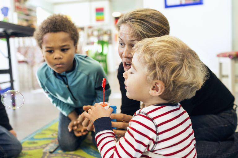 Kindergarteners in a classroom.