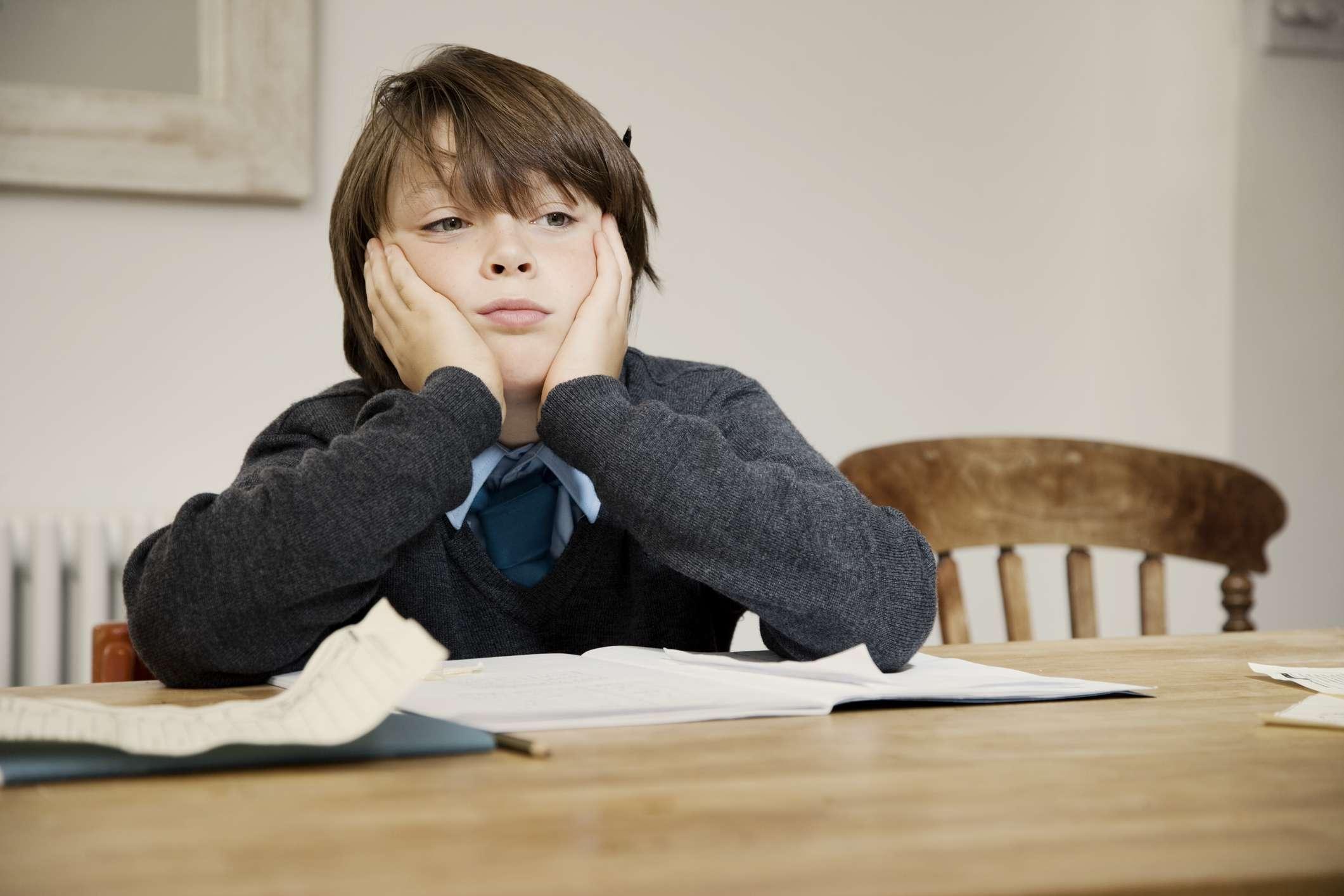 Boy not doing homework