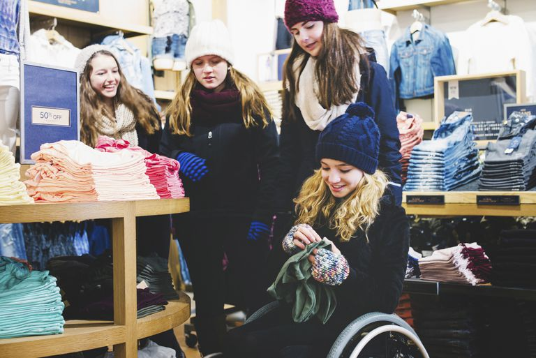 group of girls shopping