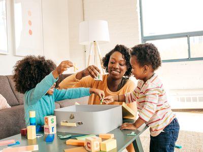 Babysitter playing with children