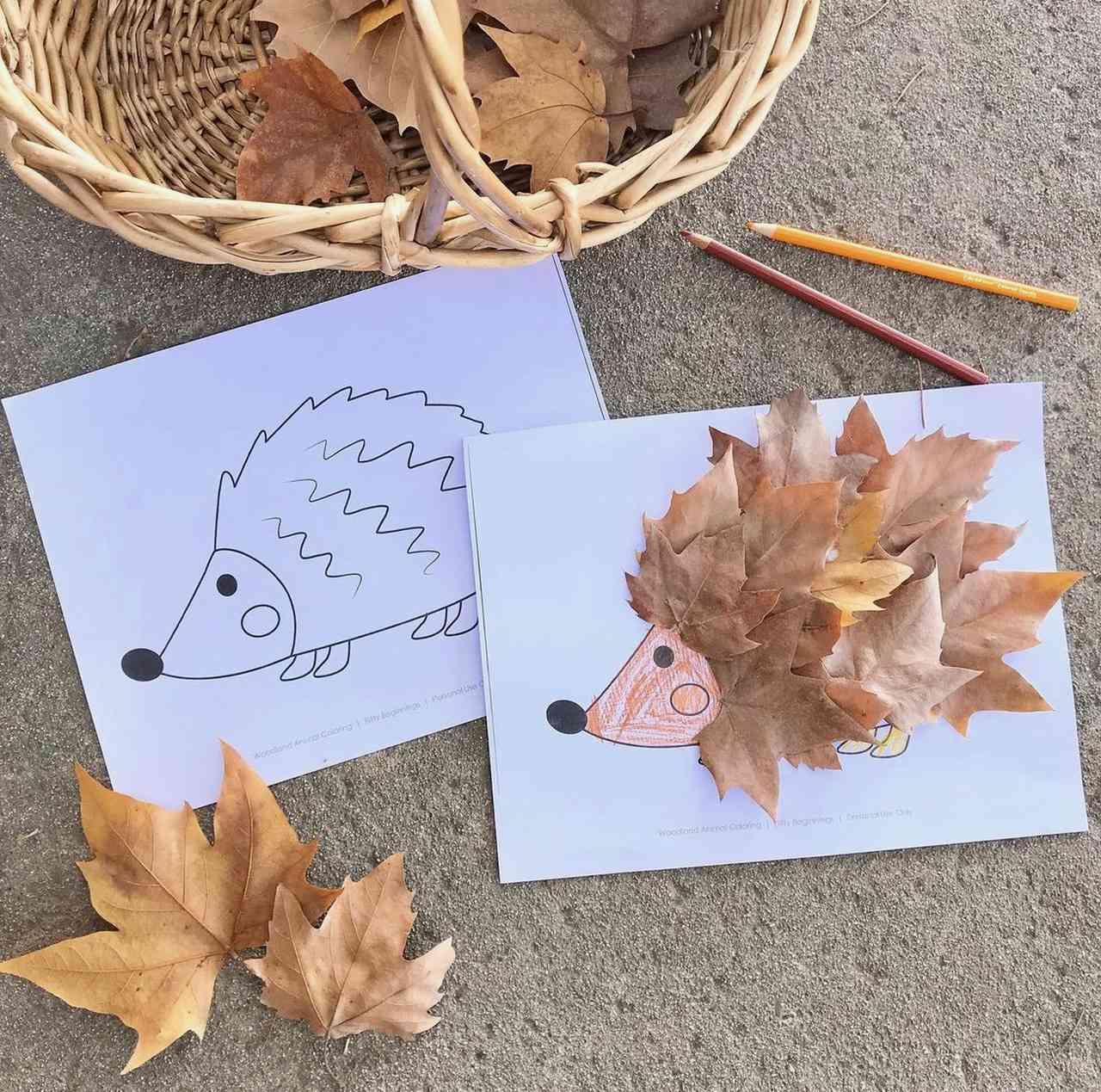 Autumn hedgehog leaf craft