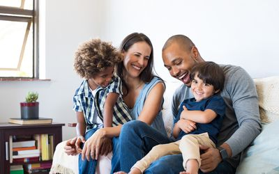 mixed race couple with children