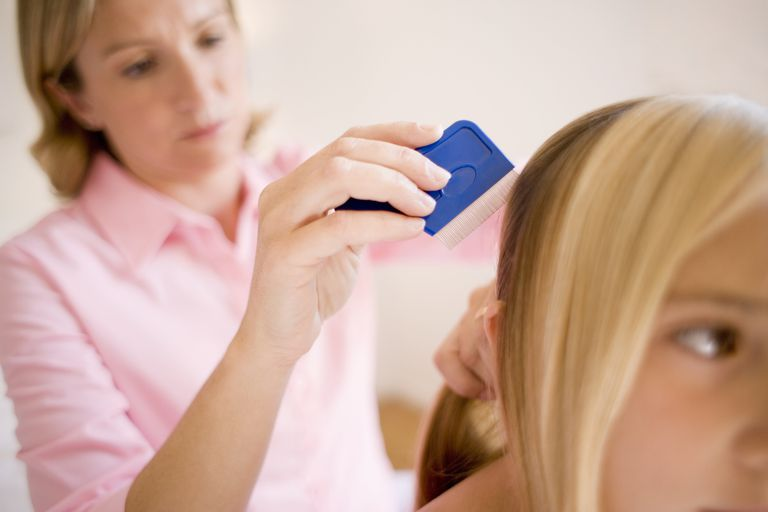 Mom using a head lice comb on her daughter's hair