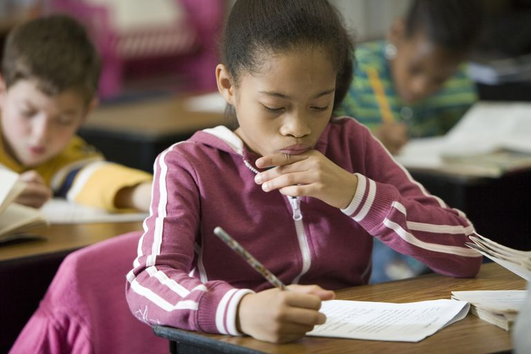 Third Grade Girl in Class