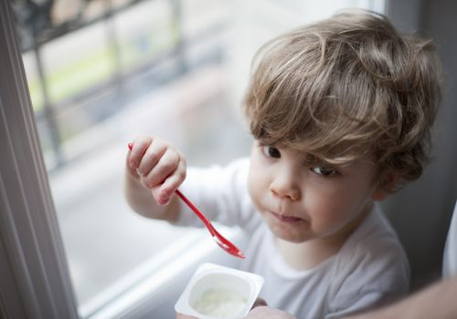 Toddler boy eating yogurt, portrait