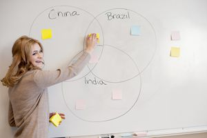 Student doing Venn diagram in class