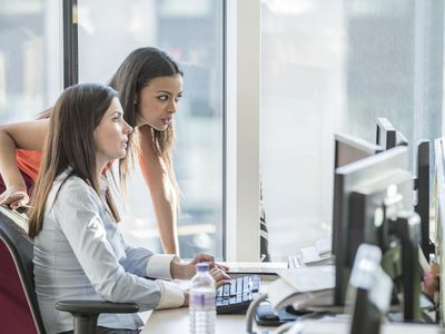 Female office workers using computer